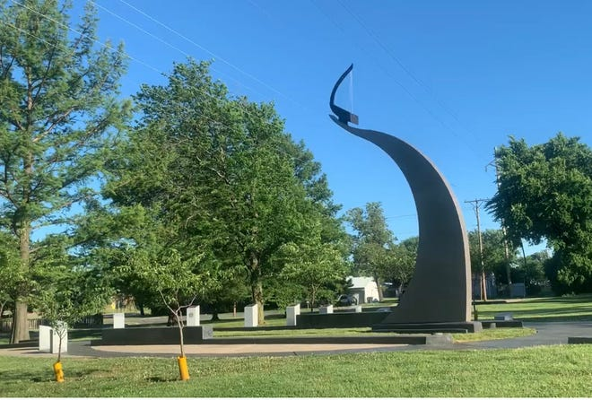 """The Tornado Memorial is located in Graham Park and stands along the path the """"wrong way"""" tornado took in 1958."""