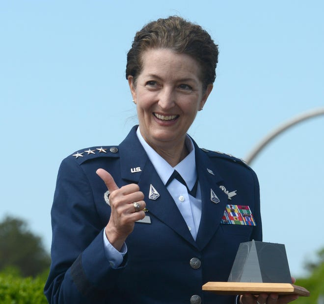 A thumbs-up from Air Force Lt. General Nina Armagno, director of staff at the United States Space Force (USSF),  after she was given a desktop replica of the radar building at the Cape Cod Air Force Station, which took on the new name of Cape Cod Space Force Station on Friday.  - e7316e9d d38c 4254 a15f b08211b80714 Space Force general - New name, same mission, for Cape Cod Space Force Station in Bourne.