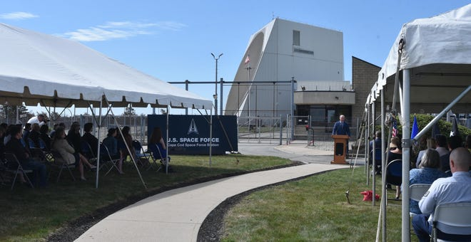Framed by the radar building, Congressman Bill Keating speaks to the crowd at the newly named Cape Cod Space Force Station.  Lt. Gen. Nina M. Armagno, director of staff, headquarters, United States Space Force (USSF), stressed, as did Keating, that space security is critical to global security.  - eb9e9c07 de78 4c0c 9b70 1ccb0719ce89 Space Force2 - New name, same mission, for Cape Cod Space Force Station in Bourne.