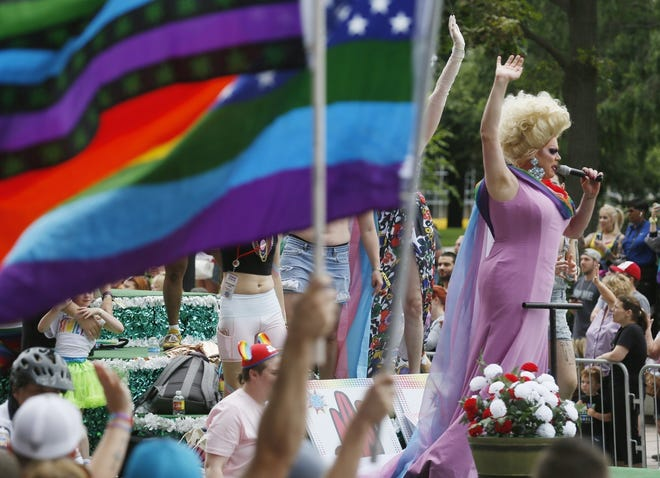 Grand marshall drag queen Nina West (Andrew Levitt) waves to the crowd during the 2019 Stonewall Columbus Pride Parade.