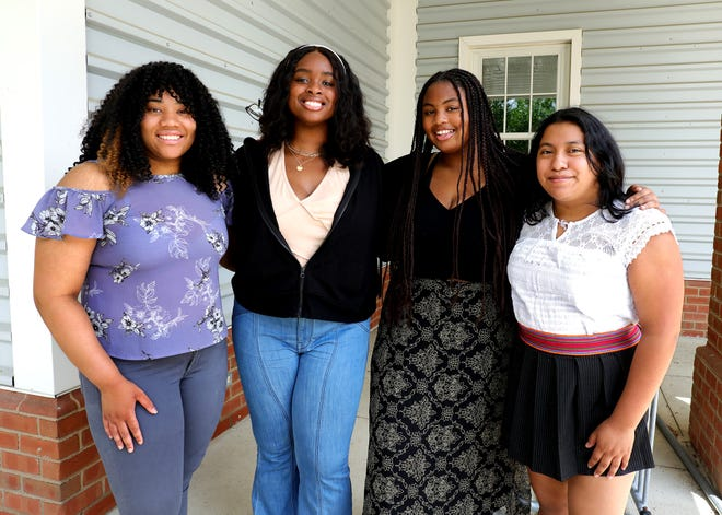 New Albany High School's NAACP chapter is the first high school chapter in the Columbus area and was recently certified by the national organization headquartered in Baltimore. The student chapter was founded by (from left): Kylie Harper, Theresa Mabatah, Victoria Mabatah and Rina Smith, who were pictured at the school on Friday.