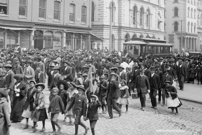 A group of people gather to celebrate Juneteenth in Virginia.