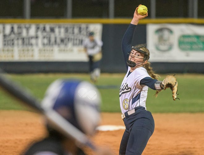 Eustis' Libby Levendoski (6) works against Belleview on May 14 in the Class 4A-Region 2 championship at Eustis. Levendoski tossed a no-hitter in a 2-0 win. Levendoski is the Daily Commercial All-Area softball Player of the Year.. [PAUL RYAN / CORRESPONDENT]