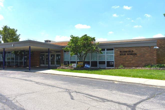 """Blissfield High School is pictured Friday afternoon. Blissfield Community Schools is looking at how the district can upgrade its buildings and facilities to transform Blissfield schools into a """"destination district."""" Several improvements are suggested at the high school."""