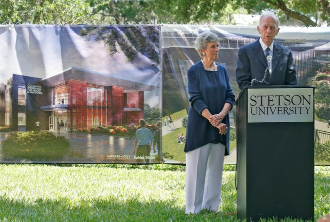 Cici and Hyatt Brown at the groundbreaking ceremony for the new Cici and Hyatt Brown Hall for Health and Innovation at Stetson University in DeLand, Friday, June 11, 2021.
