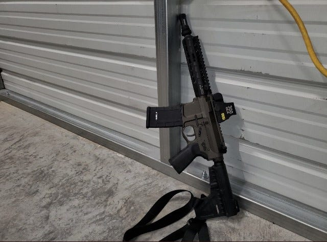 """Volusia County Sheriff's Office deputies found this rifle in a shed in DeBary after they shot a man in what Sheriff Mike Chitwood described as """"an ambush in waiting."""""""