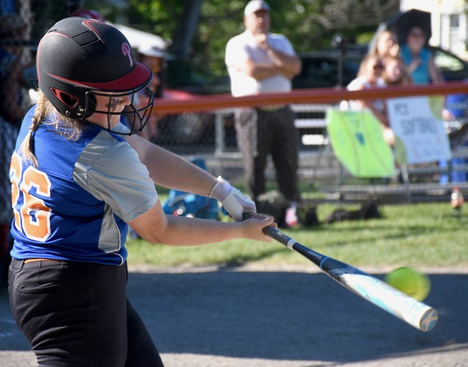 Poland Tornado Sarah Zuchowski makes contact with a pitch during Thursday's Section III playoff victory over Lyme.