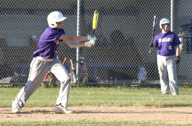West Canada Valley Indian Jaeden Beam follows through on his swing during a May 24 baseball game against Westmoreland.
