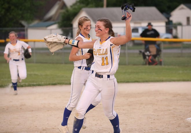 Wapello pitcher Aliyah Lolling (11) celbrates the Arrows 2-1 win over Class 2A's third-ranked Louisa-Muscatine at Wapello Thursday night.