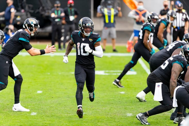 Jaguars wide receiver Laviska Shenault Jr. (10) runs prior to the snap during a November game. Shenault was among several players who attracted attention during the team's OTAs.