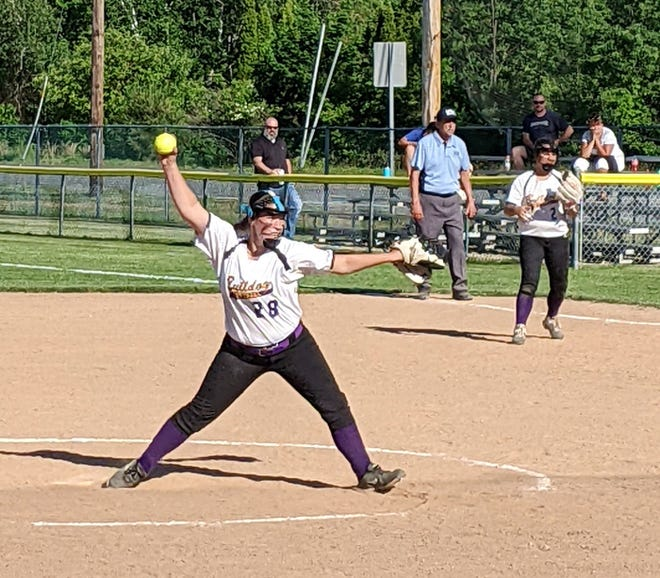 Monty Tech junior Ashley Sevigny (28) mowed through sixth-seeded Groton-Dunstable, Wednesday, striking out 12 and recording the first no-hitter of her career in the Bulldogs' 7-0 victory in a CMADA Division 2 quarterfinal at Bulldog Field in Fitchburg.