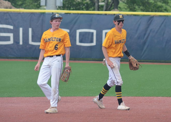 Wil Goodpaster [left] and Brant Goodpaster [right] patrol the middle of the field for Hamilton