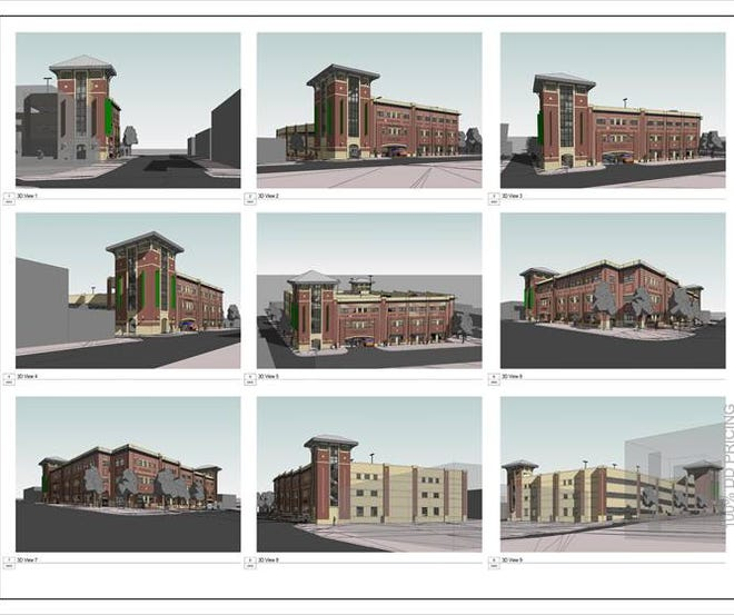 Renderings of a parking deck that will be built on Church Street and Fifth Avenue West.