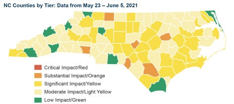 The North Carolina Department of Health and Human Services' most recent County Alert System report map.