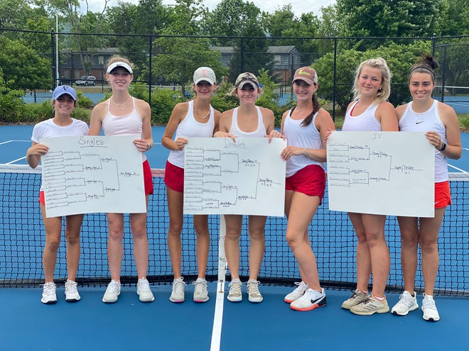 The Hendersonville High girls tennis team poses after Thursday's Mountain Six Conference finals at Brevard College. From left to right are Ramsey Ross, Olivia Pursley, Eliza Perry, McCullough Perry, Ava Heffner, Lindsay Bull and Maggie Tinsley.