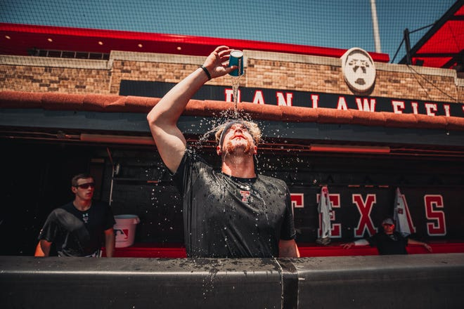 Baseball players and fans alike had to find ways to beat the record-breaking heat Friday as Texas Tech played Stanford in the Lubbock Super Regional.