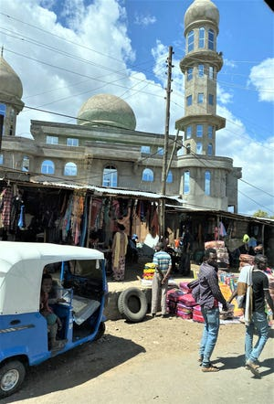 Mosque behind shopping in Ethiopia.