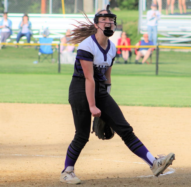 Marshwood relief pitcher Lindsey Bennett reacts after striking out Gorham's Tatyanna Biamby and secure a 6-5 Class A South playoff victory for the Hawks.