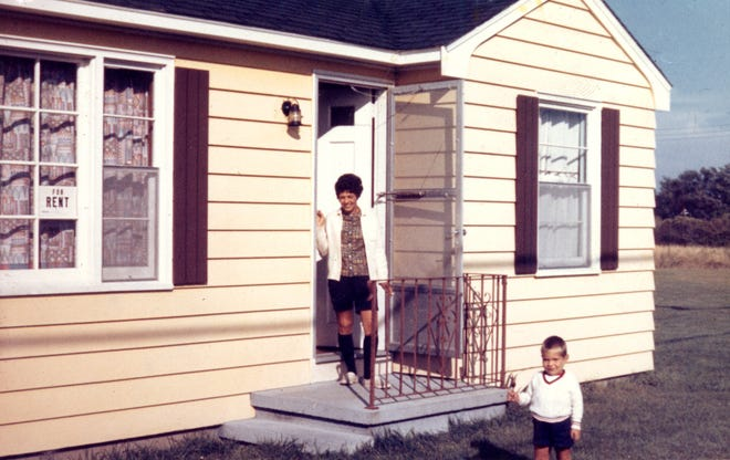 John Walsh and his mother at one of the family's beach cottages in Narragansett circa 1962.