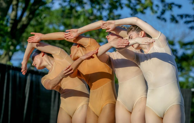 """From left, Tara McCally, Regan Hutsell, Katie Bickford and Audrey Lukacz in """"Strings,"""" an original piece that is part of Festival Ballet Providence's new program, """"Emergence,"""" onstage at their Hope Outdoor Theater from June 17-27."""