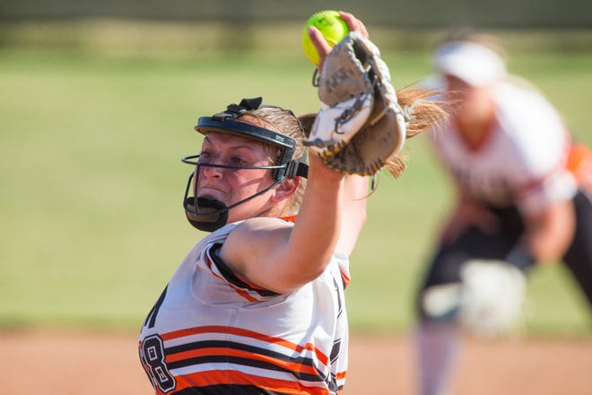 Harlem pitcher Cheyenne Nietz throws against Huntley in the fourth inning of their Class 4A sectional final at Huntley High School on Thursday, June 10, 2021, in Huntley.