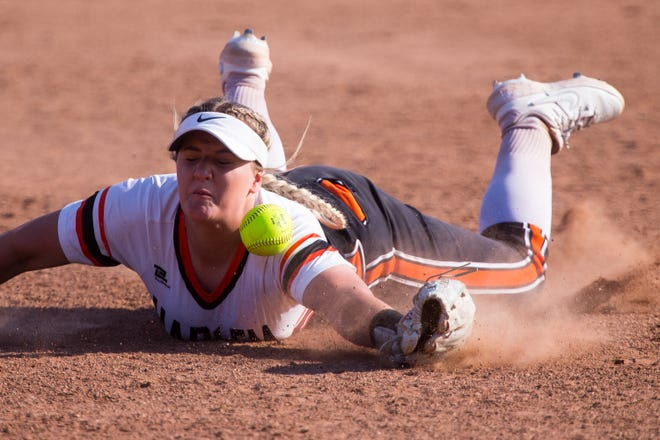 Harlem shortstop Haley Bibby can't reach a ball that blooped over pitcher Cheyenne Nietz's head for a single in a six-run fifth inning that lifted Huntley to a 7-1 victory over the Huskies in their Class 4A sectional softball final at Huntley on Thursday.