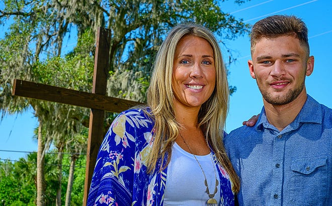Brittany Glisson stands with her son Logan, 18, behind the St. Gerard Campus school in St. Augustine on Friday, June 11. Glisson, who was just appointed executive director of the school and home for pregnant girls and young mothers, graduated high school from St. Gerard, when she was 17 and pregnant with Logan.