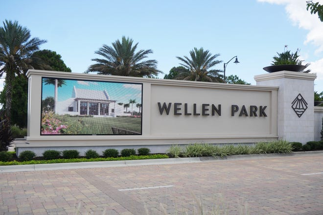 The monument sign for Wellen Park at the intersection of U.S. 41 and West Villages Parkway features a video board that can list announcements or show videos projecting how Downtown Wellen will be developed.