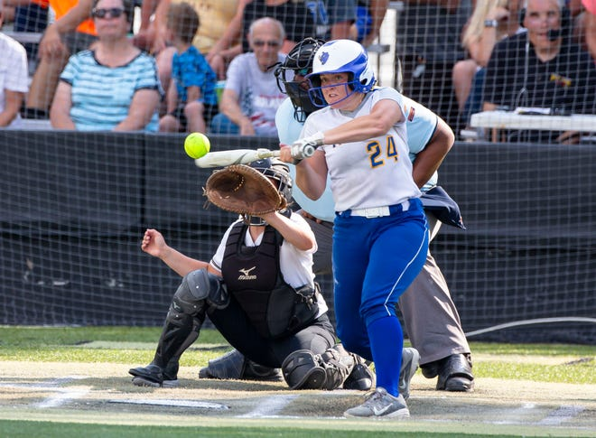 Buffalo Tri-City's Emma Farley (24) connects for a hit against Sacred Heart-Griffin during the Class 2A Sectional Championship at Comstock Field in Springfield, Ill., Thursday, June 10, 2021. [Justin L. Fowler/The State Journal-Register]