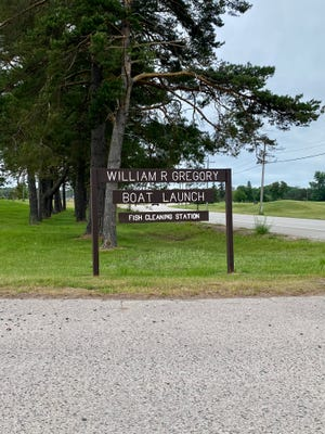 A photo of the display sign for William R. Gregory Boat Launch at Aune Osborn Campground in Sault Ste. Marie.