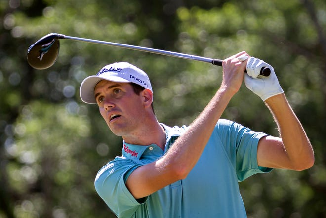 Chesson Hadley watches his drive off the 13th tee during the second round Friday of the Palmetto Championship at Congaree in Ridgeland, S.C.