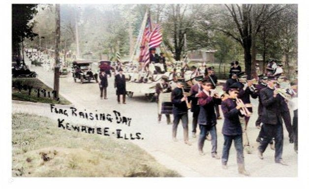 A parade preceded the flag-raising ceremony in Kewanee in 1917.