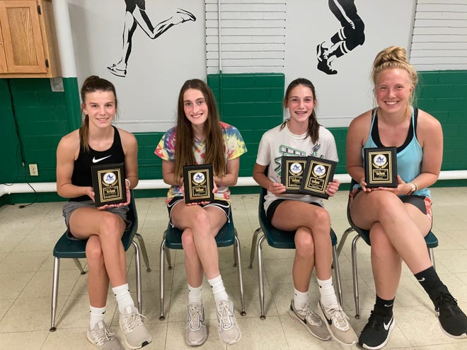 Annawan-Wethersfield recently award girls track team members for their efforts in the 2020 season. Recognized were, from left: Kennady Anderson, best distance runner; Ally Celus, best sprinter; Kaylee Celus, best jumper; and Cassidy Miller, best thrower.