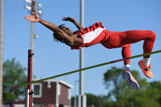 Norwich Free Academy junior Max Pierre Louis captured the State Open high jump championship Thursday at Veteran's Stadium in New Britain.