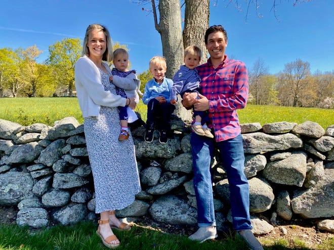 From left, former NDA three-sport star Mackenzie (Granger) Abraham, with daughter Riley, sons Jackson and William, and husband Matt.