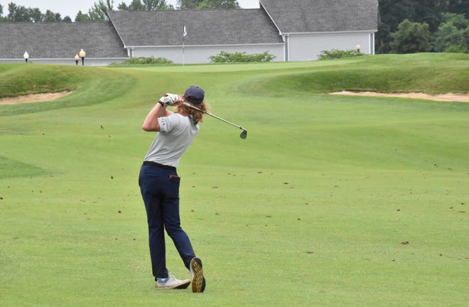 Bedford North Lawrence junior Trevin Hutchinson on the ninth fairway.