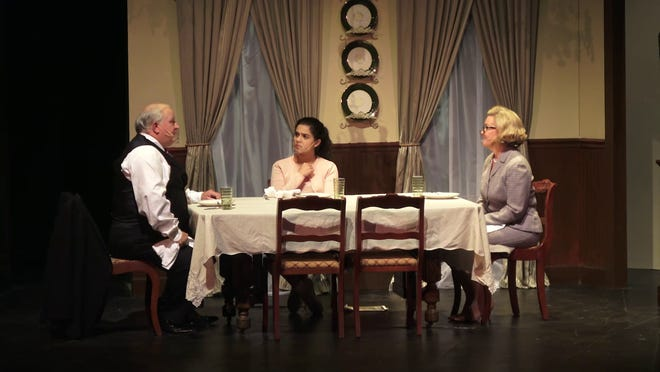 """Ernie Turley, Layla Kahn-Hickman, and Kathy Wilson, from left, in Theatre Tuscaloosa's production of """"Love and Cheese Toast."""" [Submitted photo]"""