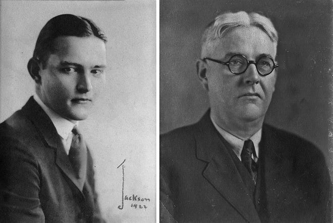 Bradley Skeele (left) is shown at age 21 in this 1922 photo composite, with his father, Philip, at age 56 in 1924. The Skeele family members were prominent residents of Marble Cliff.