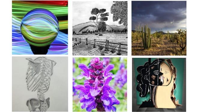 This combination photo shows some of the artwork on display as part of the Spring 2021 Victor Valley College Student Art Show. The pieces will be available online until Aug. 21, 2021.