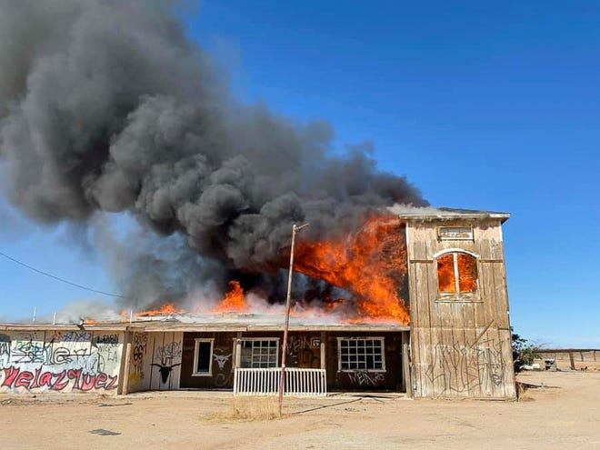 The Goffs General Store burns in a suspicious fire on Tuesday, June 8, 2021.