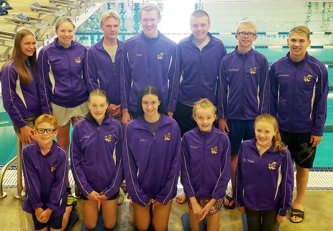 These Watertown Area Swim Club swimmers won events over the weekend in the Brookings Swim Club Summer Invitational. Event winners were, from left in front, Channing DeBoer, Sydney Sparks, Lorelai Grund, Justine Kranz and Roslyn Waite; and back, Elsie Boettcher, Jazmyn Lunn, Talon DiCarlo, Ross Ritter, Kaden Zink, Parker Hoftiezer and Burke Lauseng. Not pictured are Jessa Polchow, Alina Smirnova, McKenna Falak and Kyleigh Hansen.