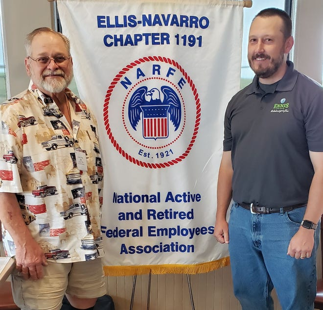 Paul Liska, right, director of the Ennis Parks and Recreation Department, spoke to members of Chapter 1191 of the National Active and Retired Federal Employees Association on June 8.