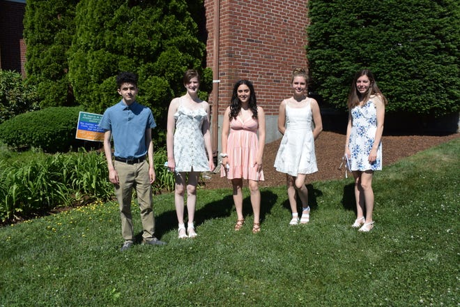Ten high school graduates were recognized at a special Baccalaureate worship service at the First Congregational Church in Norwood on June 6. Those who were able to attend the service also participated in the service, leading the call to worship and prayers, and reading Scriptures. (From left): Gregory Hazerjian, Hailey Barrows and Bethany Hazerjian, of Norwood; Linnea Hanney, of Dedham; and Olivia Beaudet, of Norwood. (Not pictured): Murphy Rowan and Liam Wilson, of Norwood; D.J. Light, of Stoughton; and Max Bierden and Brad Nelson, of Westwood.