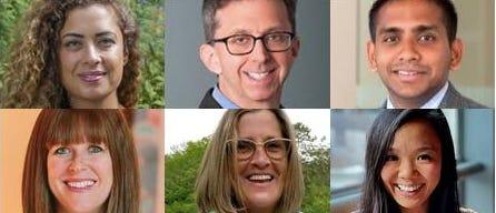 Pictured clockwise from left: Joelle Tomb, SUSHICO; Greg Reibman, Newton-Needham Regional Chamber; Aprit Patel, Baramor; Emily Chan, @bostonfoodgram; Seana Gaherin, Dunn-Gaherin's Food and Spirits; and Nancy Cushman, Bianca Chestnut Hill.