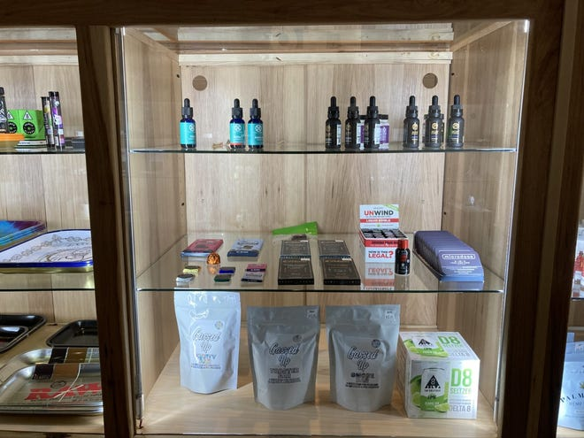 A showcase of different CBD products at Apotheca dispensary in downtown Asheville.