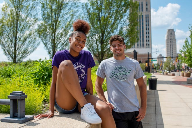 Lakeview's Brazyll Watkins and Pennfield's Ryne Petersen are named the Battle Creek Enquirer's Athletes of the Year on Friday, June 11, 2021 in downtown Battle Creek, Mich.