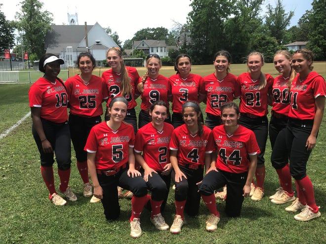 The St. Joseph Academy softball team celebrated a sectional semifinal win over Doane Academy on Thursday.