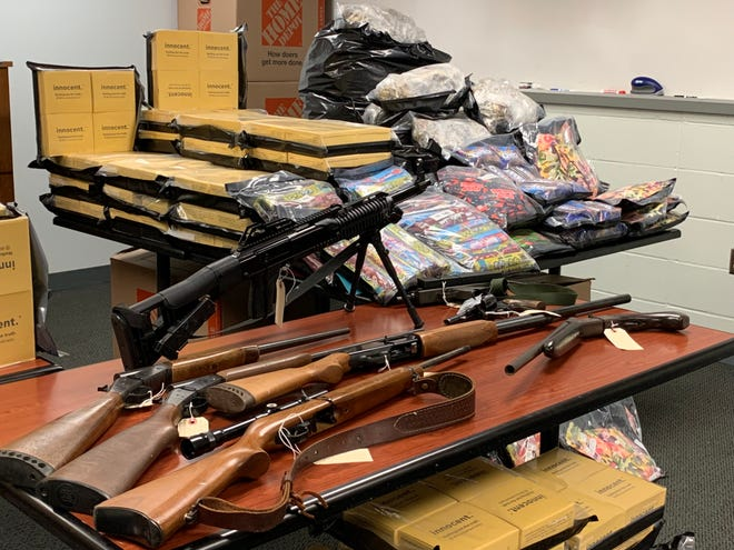Authorities estimated that the seizure of drugs, guns and money was worth $3 million.