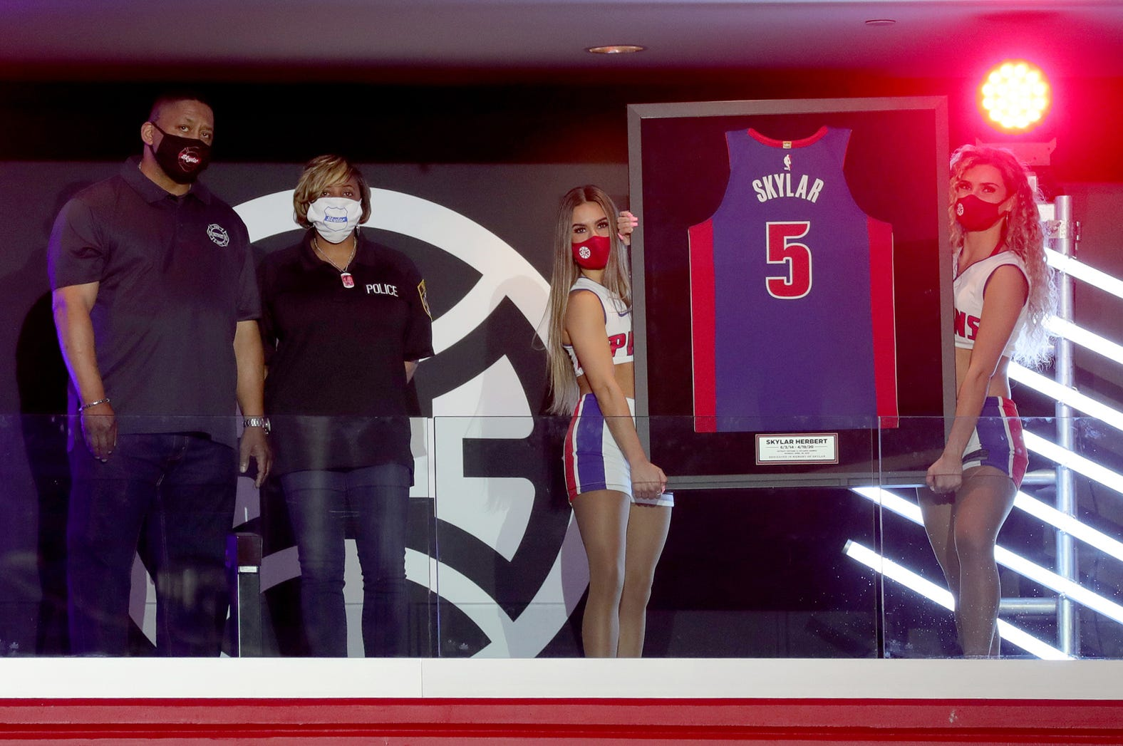Detroit Pistons honored Skylar Herbert who at one point was Michigan's youngest victim of COVID-19 her parents Ebbie and LaVondria Herbert both were on hand for the game against the  Atlanta Hawks Monday, April 26, 2021 at Little Caesars Arena in Detroit, MI.