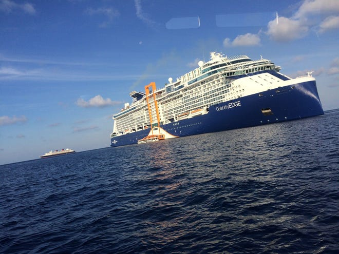 Celebrity Edge is seen on a media preview sailing out of Port Everglades ahead of its first season of sailing the Caribbean.